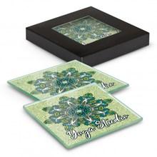 Venice Glass Coaster Set of 2 Square - Full Colour 120164