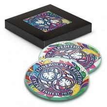 Venice Glass Coaster Set of 2 Round - Full Colour 120165